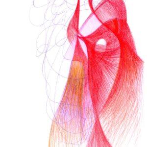 Automatická kresba červenou pastelkou