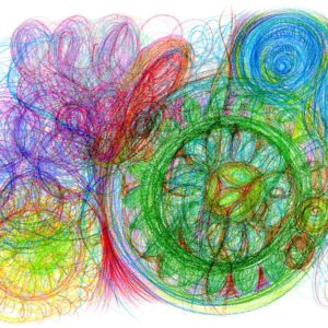Terapeutická automatická kresba kreslená pastelkami