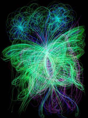 Barevná automatická kresba ve tvaru motýla