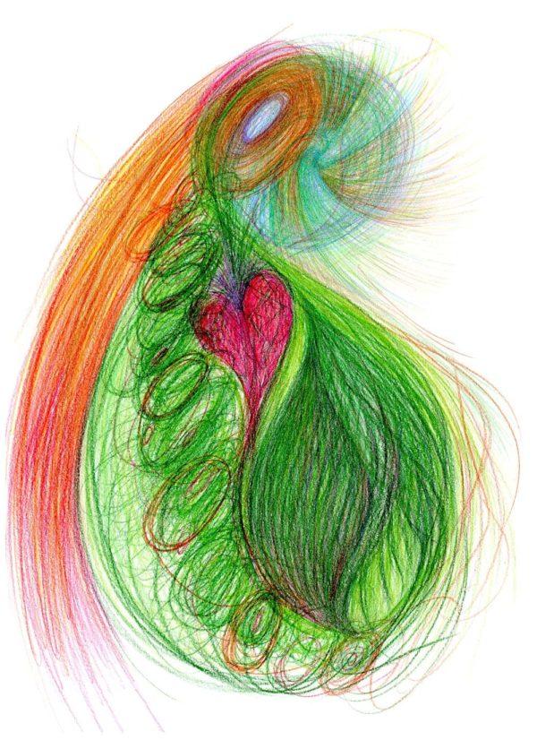 Pestrobarevná automatická kresba na bílém pozadí