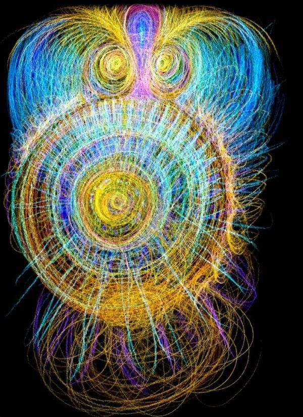 Automatická kresba pastelkami, s názvem naplnění