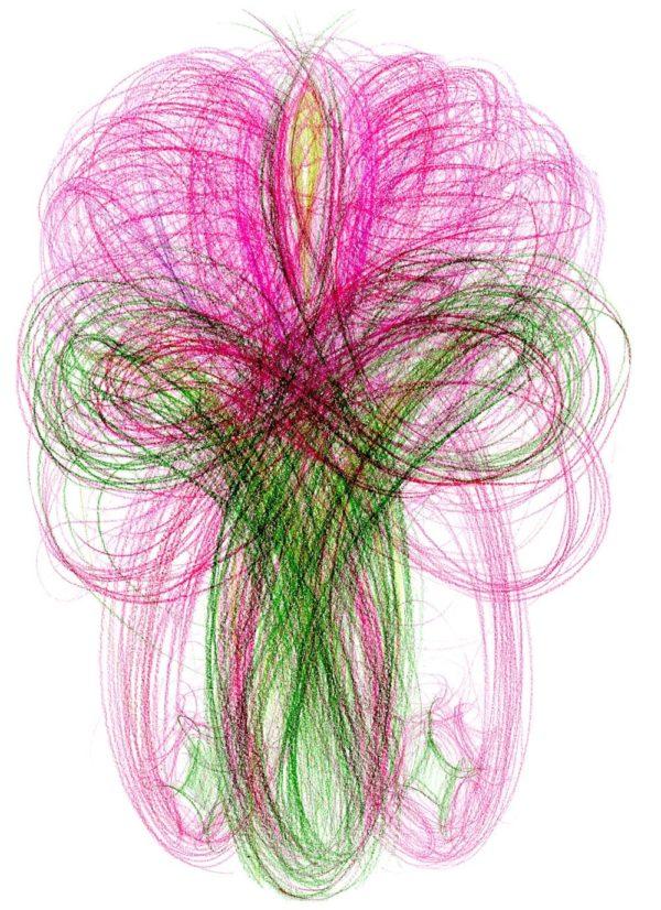 Pestrobarevná automatická kresba kreslená pastelkami na bílém papíře