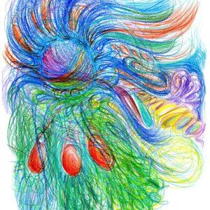 Automatická kresba na téma tanec barev