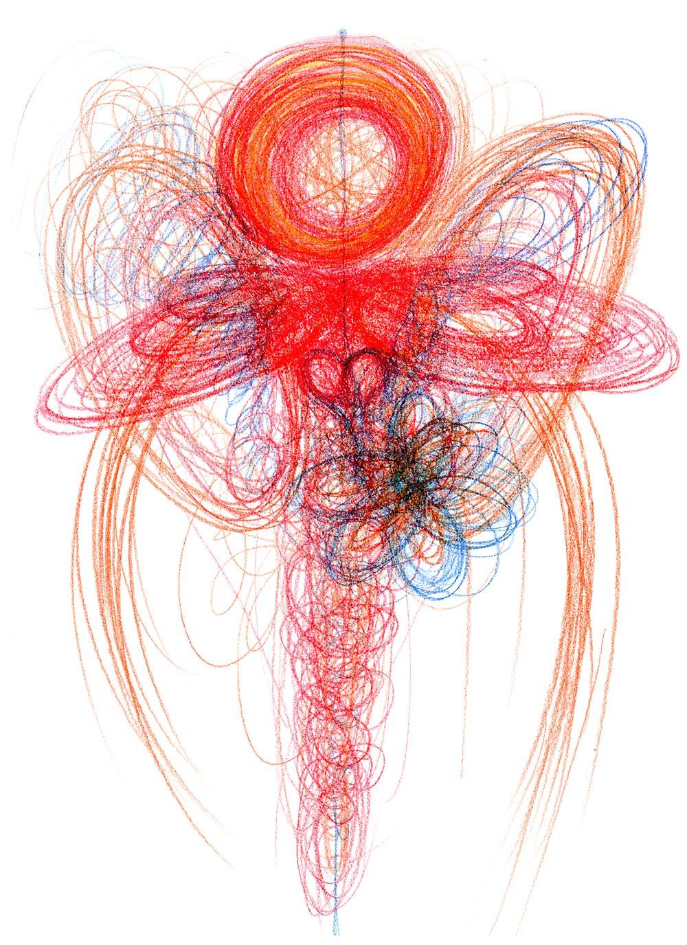 Červená automatická kresba tvaru anděla na bílém papíře